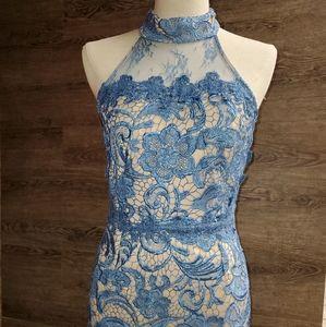 Steel Blue High-Low Lace Dress